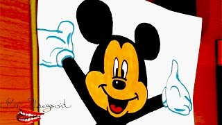 drawing mickey mouse cartoon coloring unicorn disney draw easy face colouring characters step