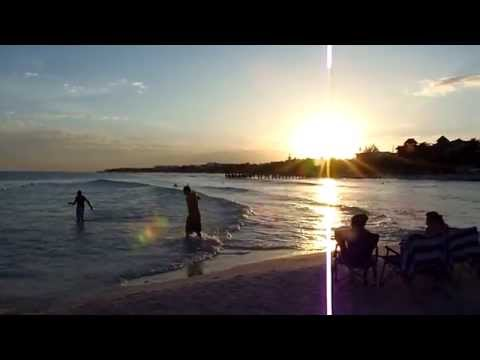 Beautiful beach sunset scene in Playa del Carmen, Mexico