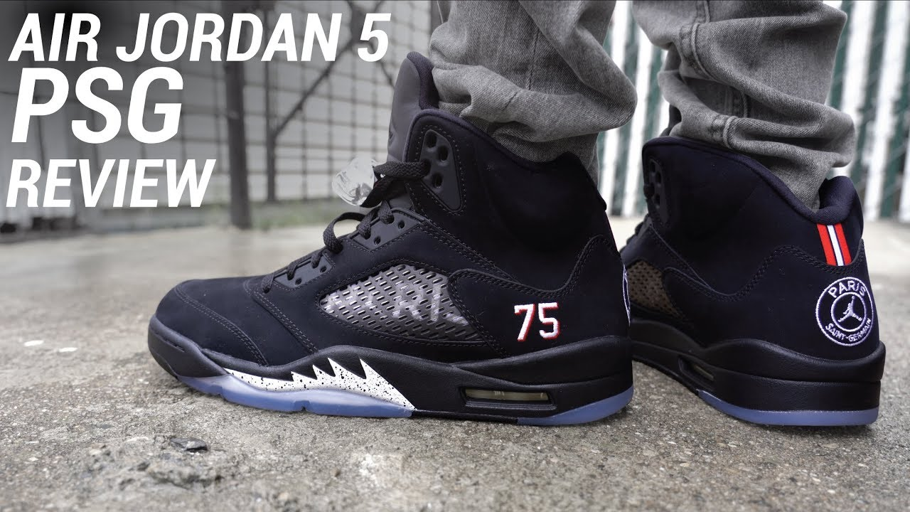 cce7c70b5a0 Air Jordan 5 Paris Saint Germain PSG Review & On Feet - YouTube