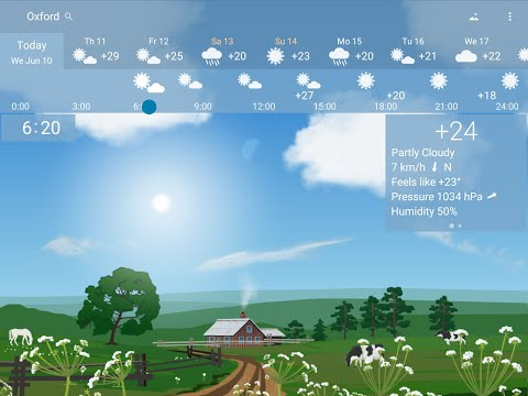 YoWindow - accurate, beautiful weather app with landscapes depicting weather, sky, season.