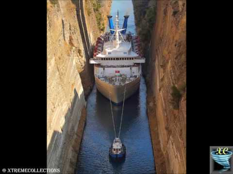 Corinth Canal in Greece   The Narrow shipping Channel in the World