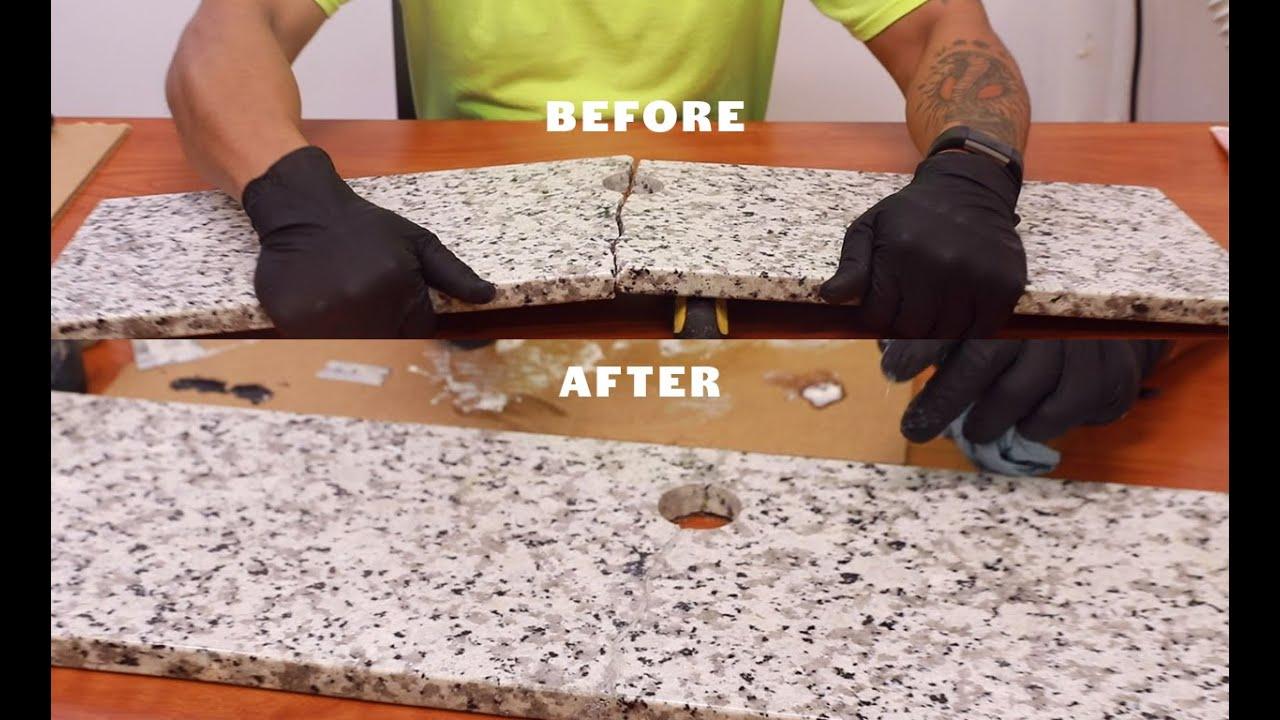 Epoxy Stone Repair - Granite Countertop - Artistic Epoxy Repair