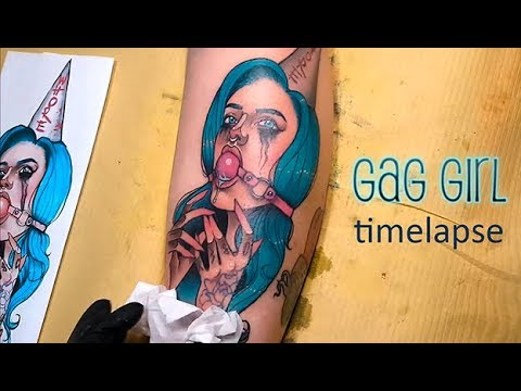 Gag Girl Calf Tattoo Time Lapse