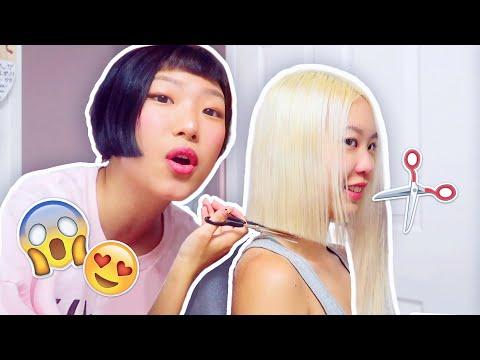 "CHOPPING ALL HER HAIR OFF (10"" of bleached hair - hair transformation pt2) lowkey asmr"