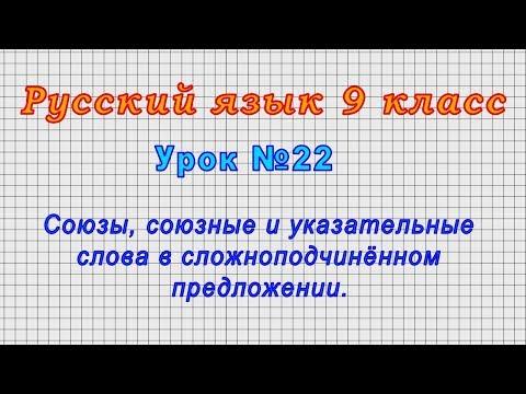 Русский язык 9 класс (Урок№22 - Союзы,союзные и указательные слова в сложноподчинённом предложении.)