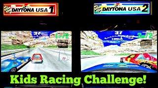 Let's Play Daytona USA Stock Car Auto Racing Arcade Video Game: 2 Heats, 1 Final With 4 Kid Racers!