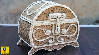 DIY Jewellery Box made from Jute and Cardboard | Jute Jewellery Box | Jute and Cardboard Crafts