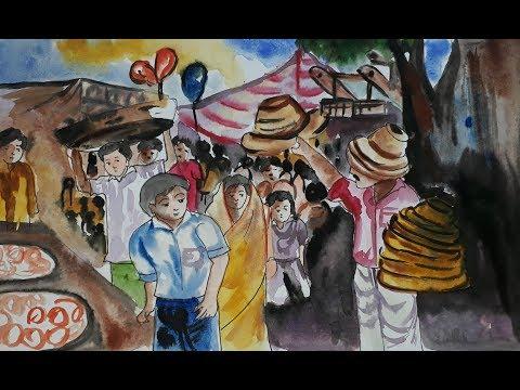 How to draw scenery of Pohela Boishakh village fair || how draw a boishakhi mela || village fair
