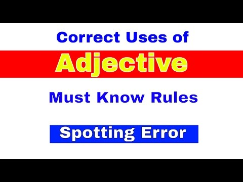 Correct uses of Adjective | Must Know Rules for Spotting Errors | Bank PO|CLerk | IPPB PO [In Hindi]