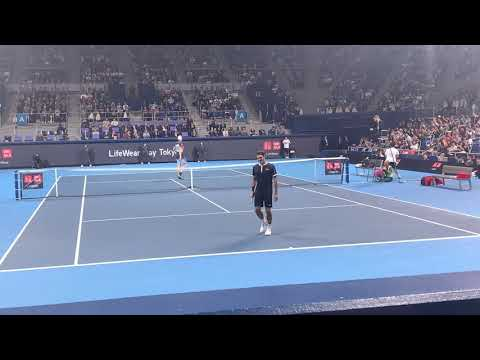 Roger Federer vs John Isner  court level 4K 60fps【UNIQLO LIFE WEAR DAY 】#7