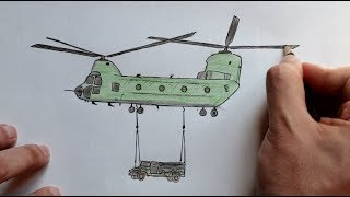 Как нарисовать Военный Вертолет(Ehedov Elnur) Step by Step How to Draw a Military Helicopter
