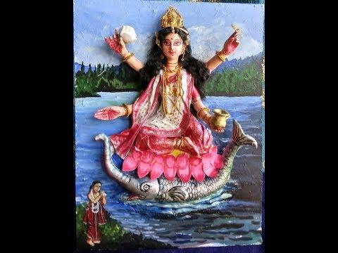 Making of clay idol of hindu goddess Ganga.