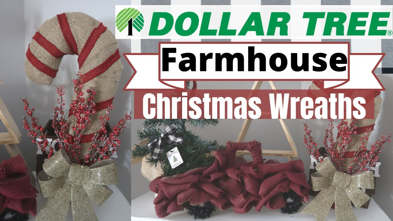 Diy Dollar Tree Christmas Wreaths 2 Farmhouse Christmas Wreaths Rustic Christmas Decor Youtube