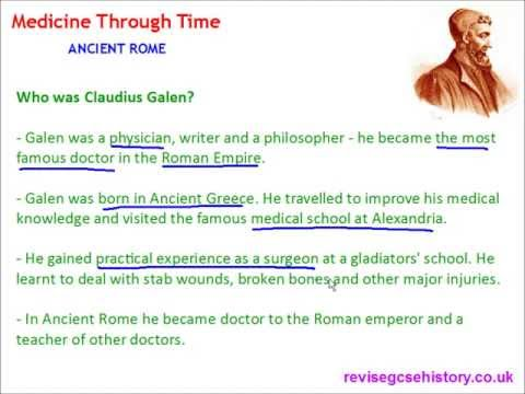 Medicine Through Time - Ancient Roman - The Work of Galen