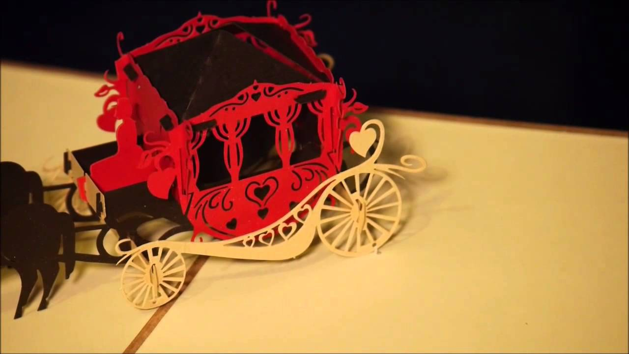 3D pop-up greeting cards - Wedding Carriage - YouTube