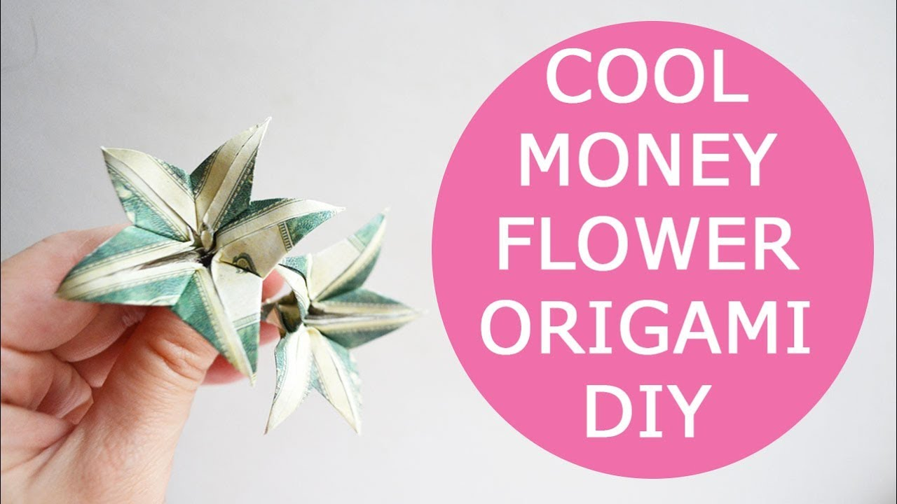 Cool Money Flower Origami Dollar Tutorial Diy Folded No Glue Youtube