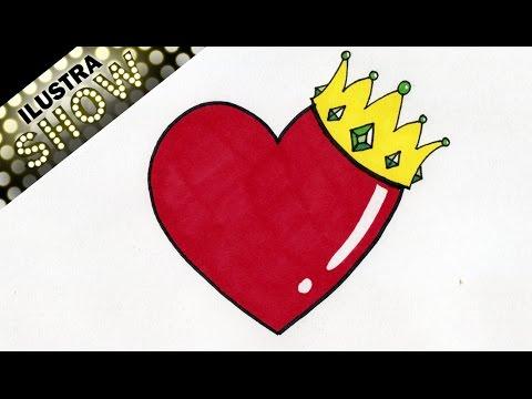 Como Dibujar Un Corazon con Corona  Rey  Corazones  Tutorial
