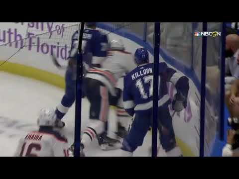 Mathieu Joseph hit on Kris Russell Tampa Bay Lightning vs Edmonton Oilers