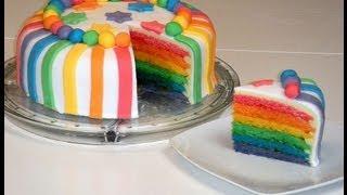 Rainbow Cake/Rainbowcake/Regenbogenkuchen (mit weißer Schokoladen-Ganache und Rollfondant)