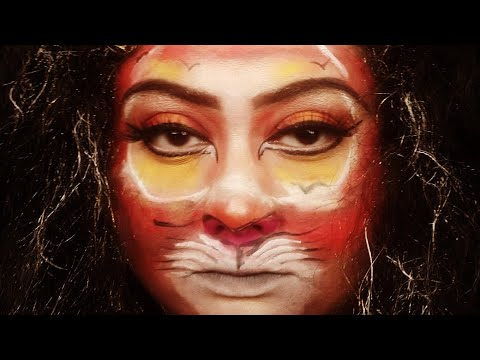Simba the lion king face painting inspired by smitha Deepak and mannymua thumbnail