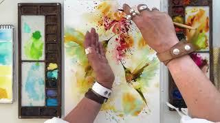 Hummingbirds watercolor painting