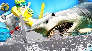 屌德斯 小熙 Roblox鲨鱼模拟器 战列舰大战巨齿鲨