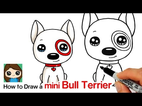 How to Draw a Mini Bull Terrier Dog | Target Bullseye