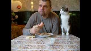 Как мой кот, просит кушать.  Butch cat chooses sausage.