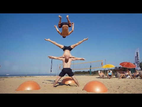 Yoga Ball Tricks and Flips at the Beach  | People are Awesome 2016