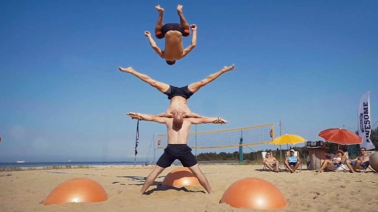 yoga ball tricks and flips at the beach | daredevils - youtube