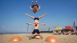 Yoga Ball Tricks and Flips at the Beach | Daredevils