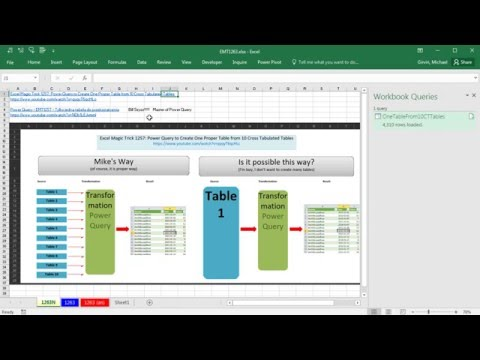 Excel Magic Trick 1263: Power Query M Code: 10 Cross Tabulated Transformed into 1 Proper Data Set