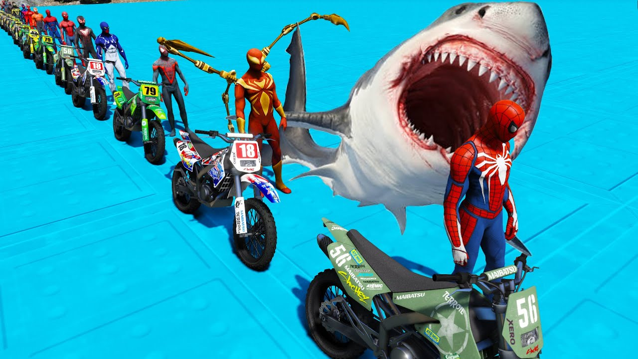Spidermans Sharks challenge GTA V mods Moto Ramps Racer fifteen Spiderman suits
