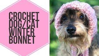 Crochet Dog/Cat Winter Bonnet