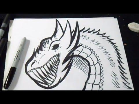 Come disegnare un drago graffiti youtube for Teschi da disegnare