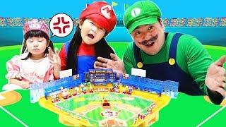 変身ごっこマリオVSルイージ対決なりきりスーパーマリオ野球盤おもちゃ Super Mario Baseball Board Toy   HaneMarisWorld