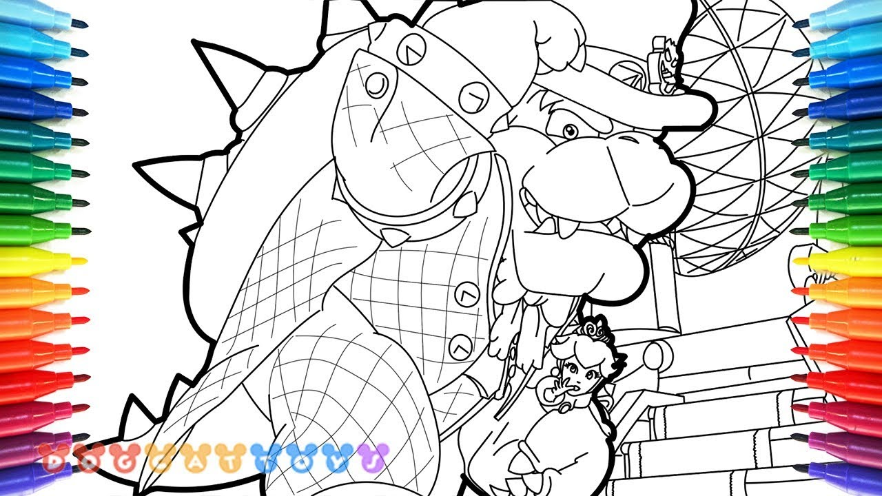 How draw mario odyssey bowser princess peach 37, i love you mommy coloring pages