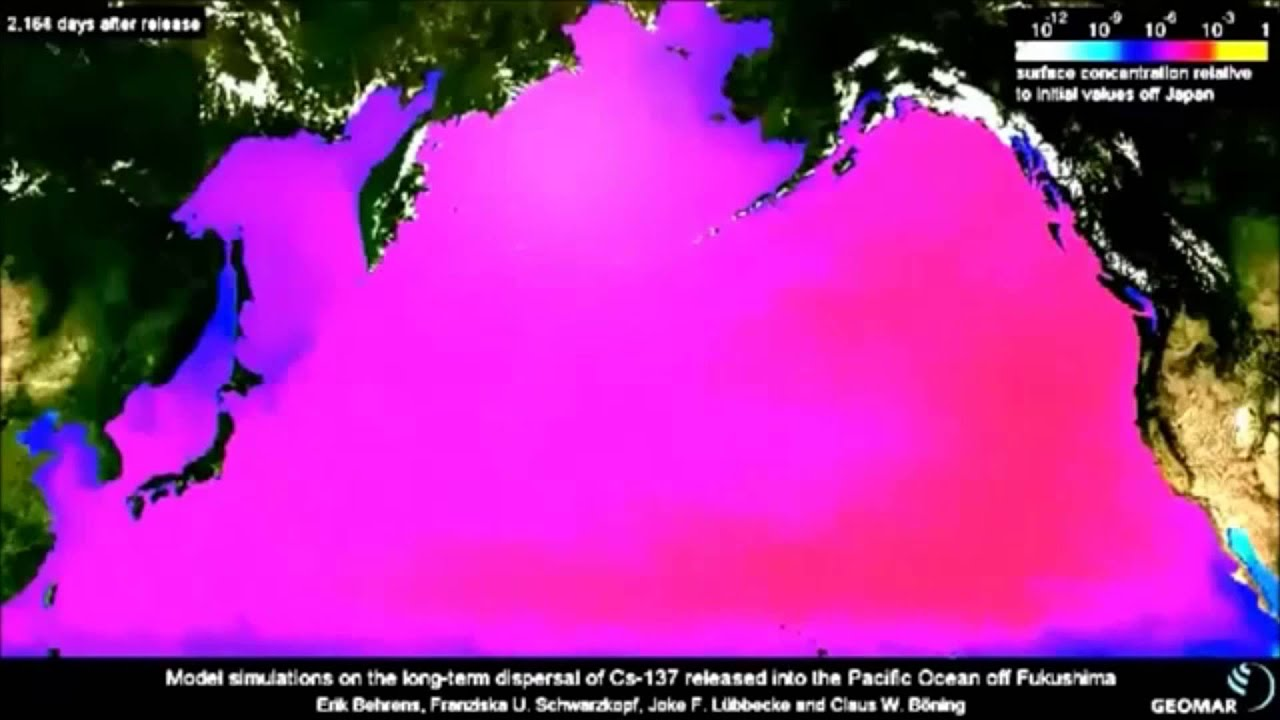 Fukushima Pacific Ocean Cesium Year Projection - Fukushima radiation 2016 us map