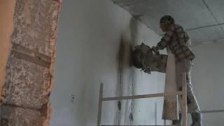 Алмазная резка бетона 20 см.Режим штробы бензорезом под усиление проёма . Часть - 2.