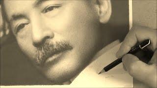 鉛筆画 夏目漱石> トンボの「MONO100」を使って鉛筆画で有名な古谷振一...