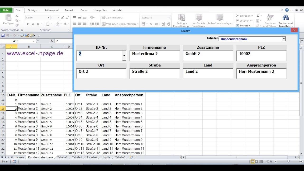 6_Datenbankprogramm in Excel VBA selber erstellen. Zeileninhalt in ...