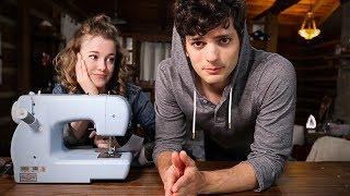 Baixar Wife teaches husband how to sew a shirt