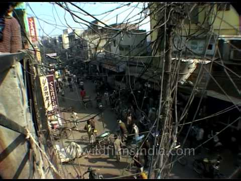 dangling cables and messy electrical installations in city