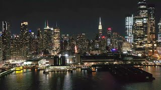 Live: New York City Skyline at Night - NYC, USA - NYC Drone Video - Aerial Landscapes Screensaver