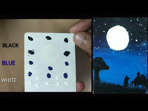 MOONLIGHT NIGHT ACRYLIC PAINTING | ABSTRACT LANDSCAPE PAINTING | FOR BEGINNERS | NIGHT SCENERY ART