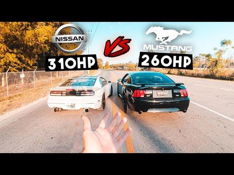 TT Nissan 300zx Vs. Mustang GT - Rev Battle, RACE, Comparison