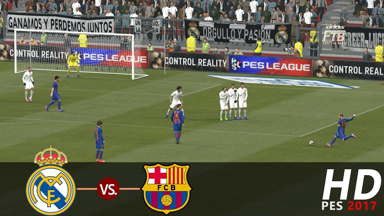 el clasico real madrid cf vs fc barcelona pes 2017 all goals highlights extended