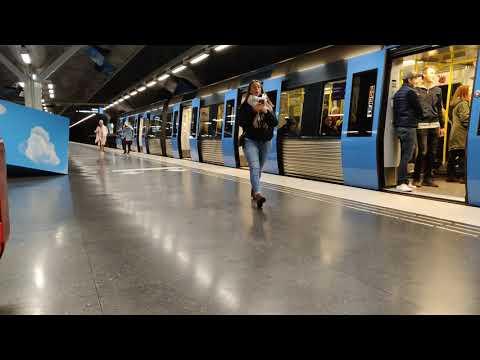 Metro trains calling at SL's 'Solna Strand' art-deco metro station / Stockholm, Sweden