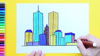 How to draw and color a City Skyline