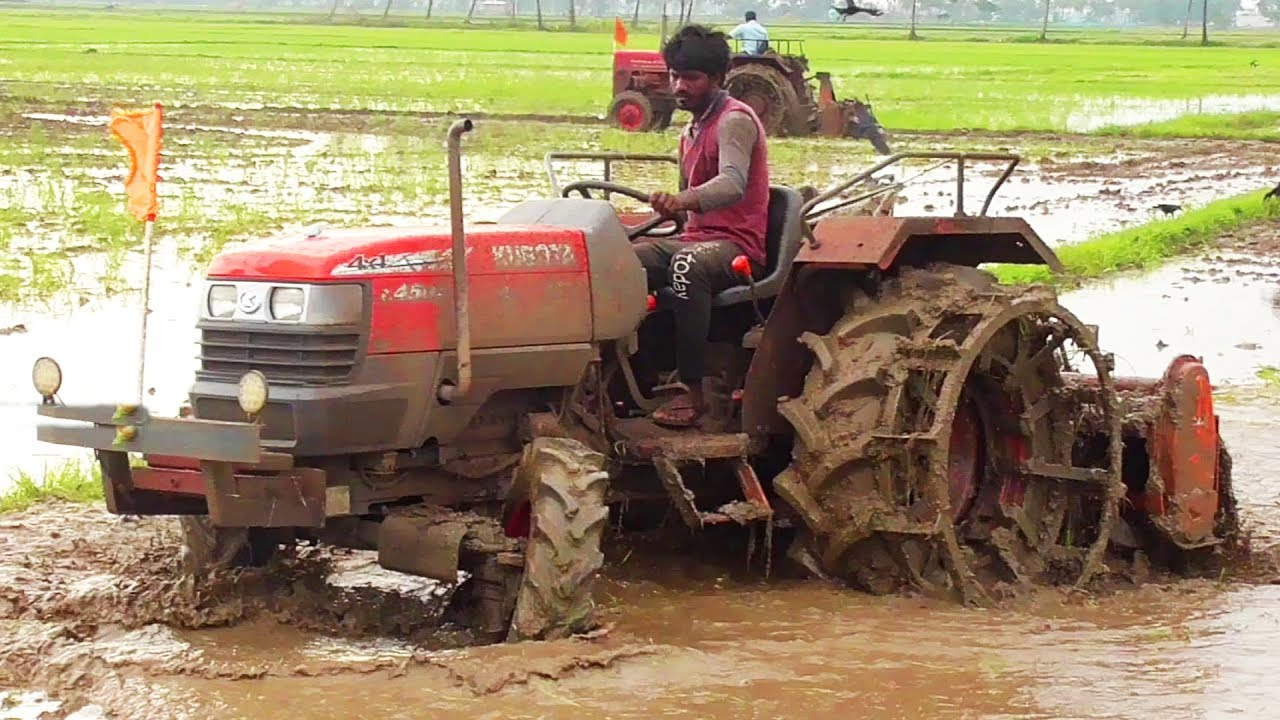 CRAZY Tractor `KUBOTA` Puddling By Rotavator | Kubota L4508 4WD | Tractor  Videos / SWAMI Tractors